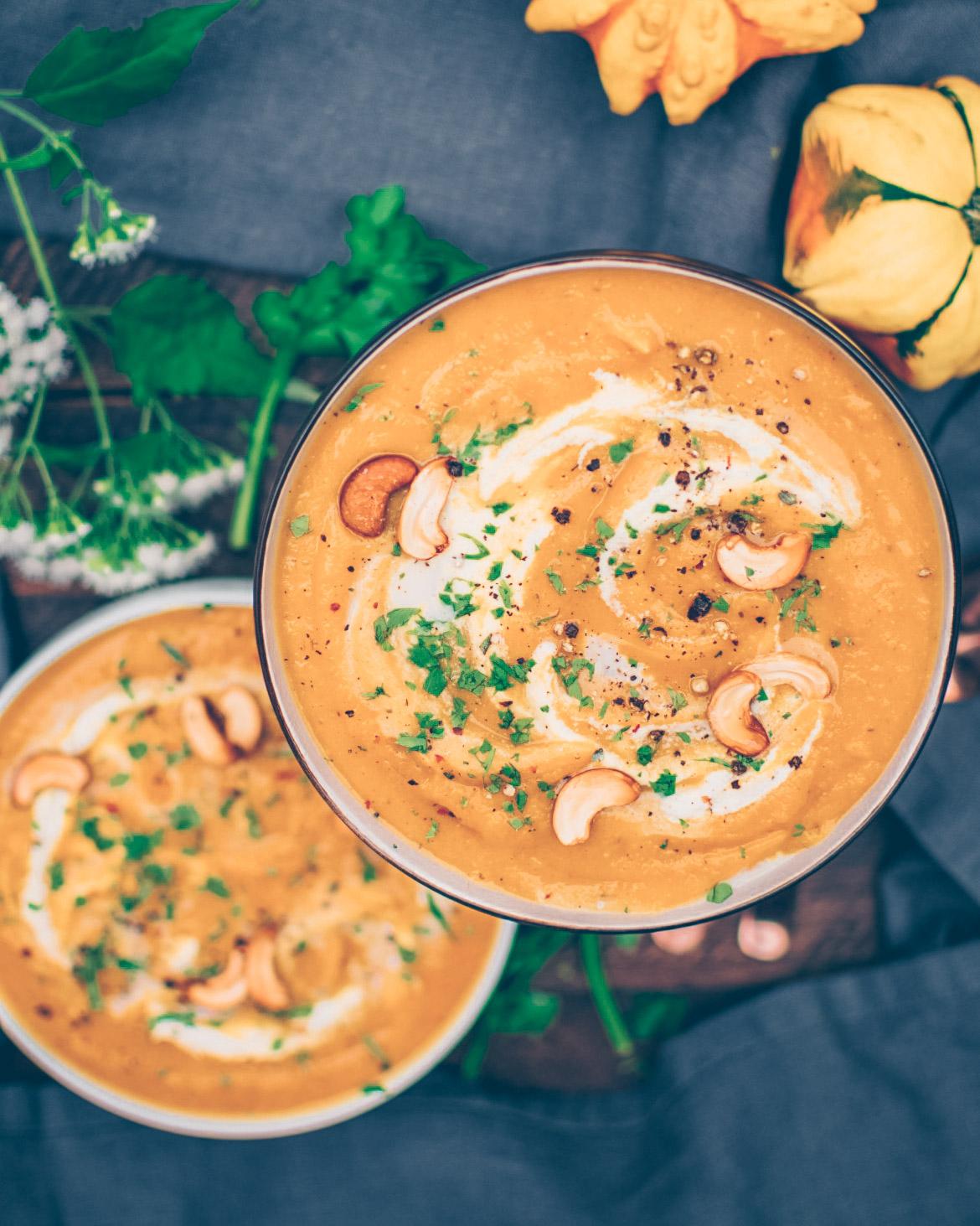 Roasted Pumpkin Soup with Cashew Sour Cream - V, GF, P