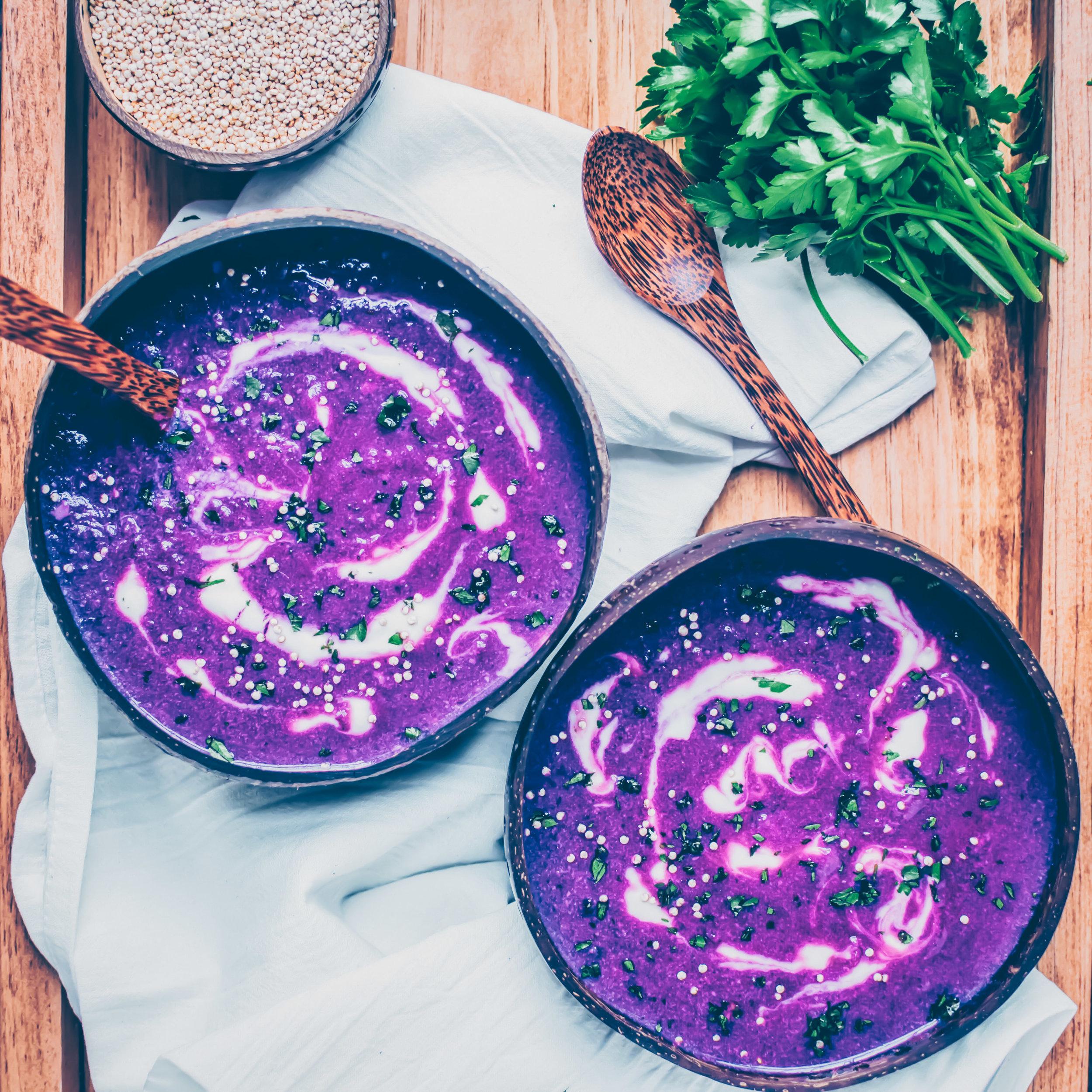 Roasted Purple Sweet Potato Soup - V, GF