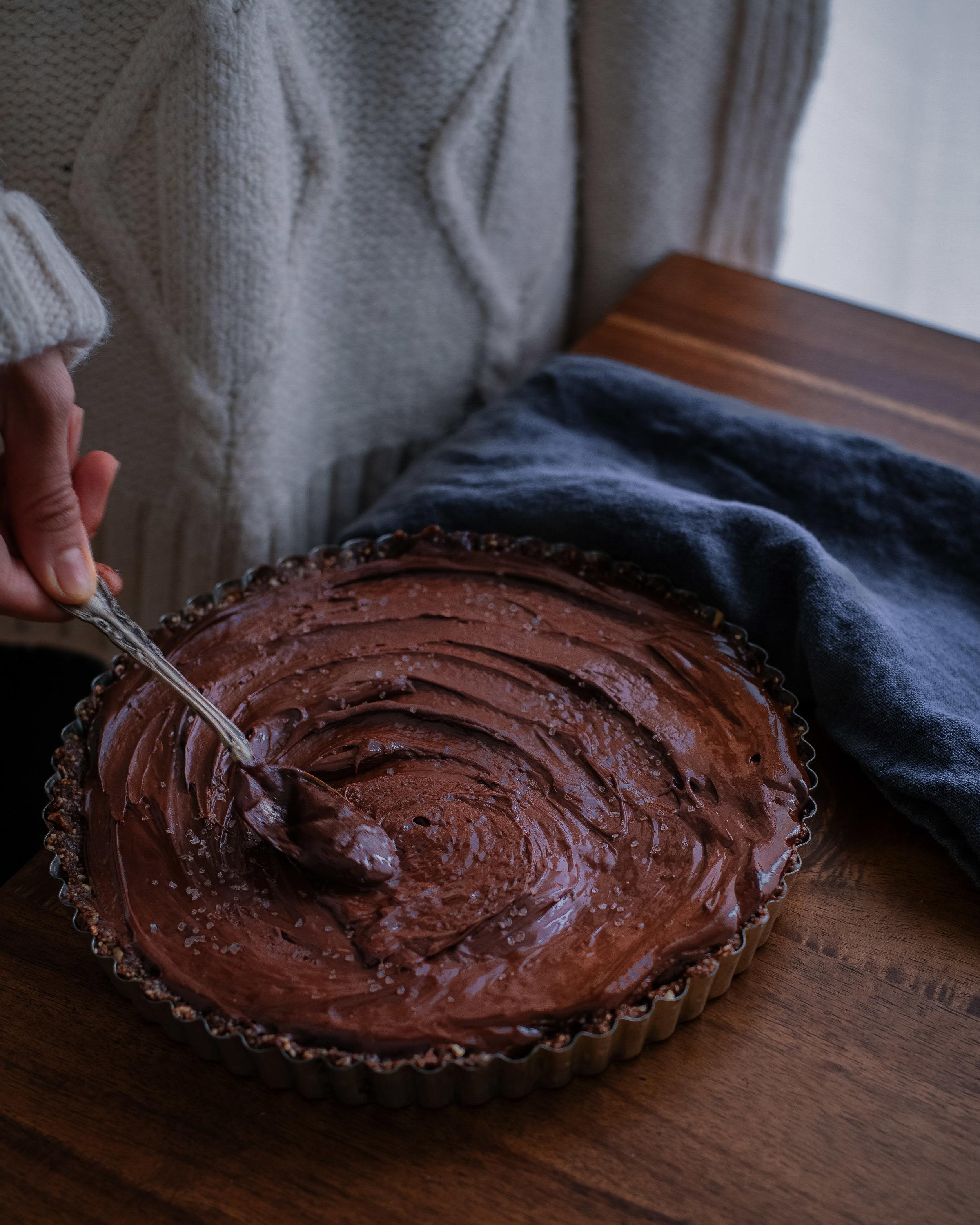 Vegan dark chocolate salted caramel tart