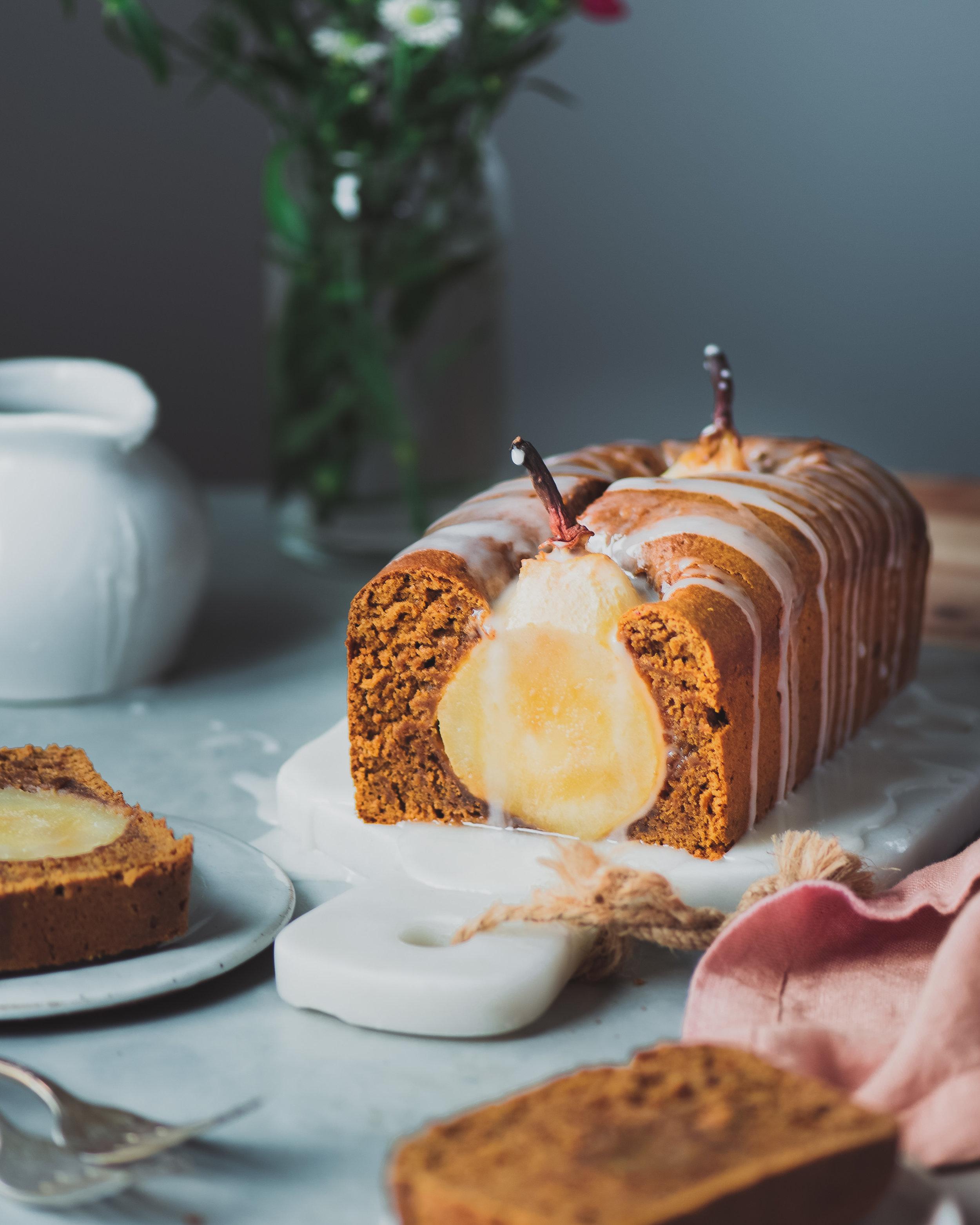 Poached Pear Gingerbread Cake (Vegan)