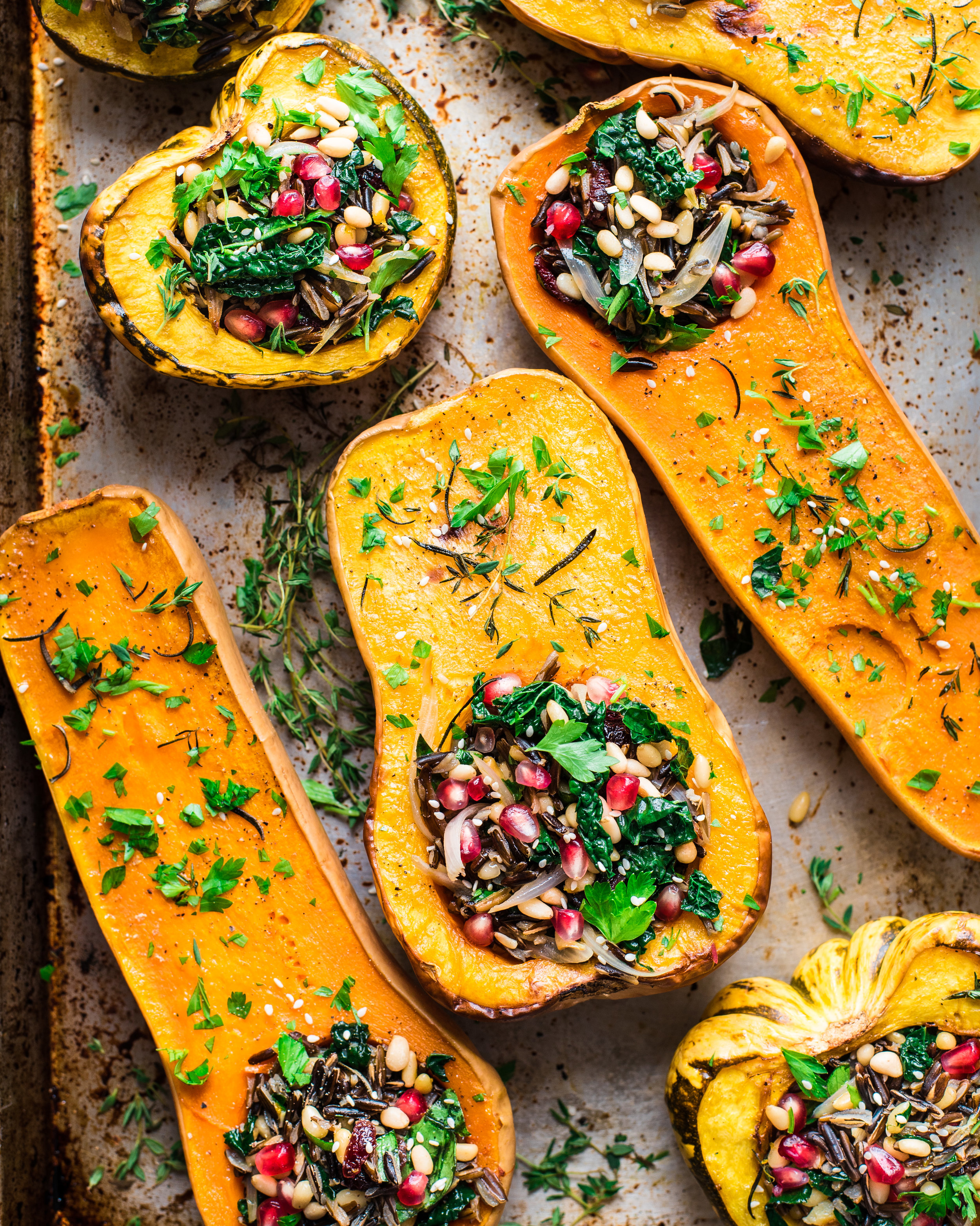Vegan Wild Rice Stuffed Squash