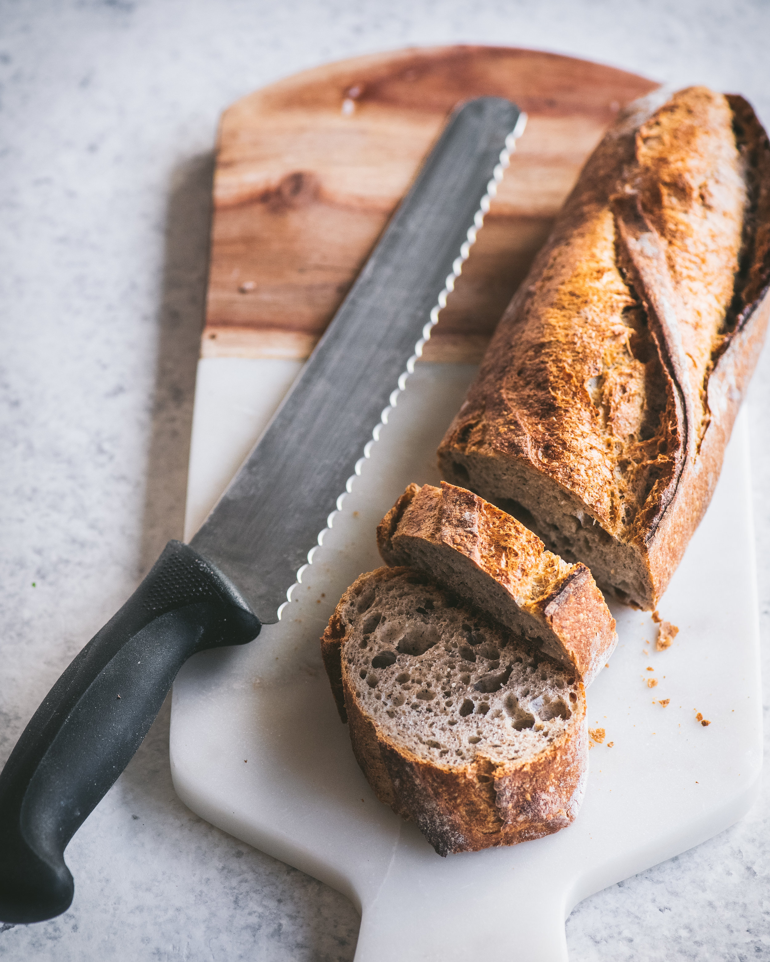 10-inch Bread Knife - An inexpensive bread knife that actually works! This is my go-to knife for cutting bread (including stale bread for French Toast), slicing tomatoes, and peeling hard fruits.Price: $13.39 on Amazon