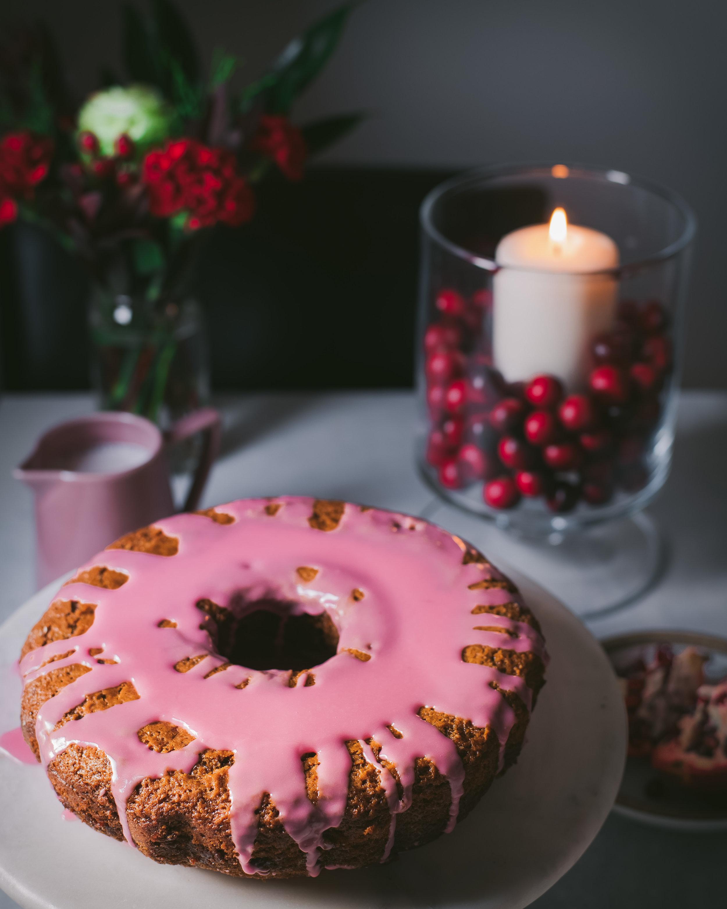 Pomegranate Glazed Gingerbread Bundt Cake