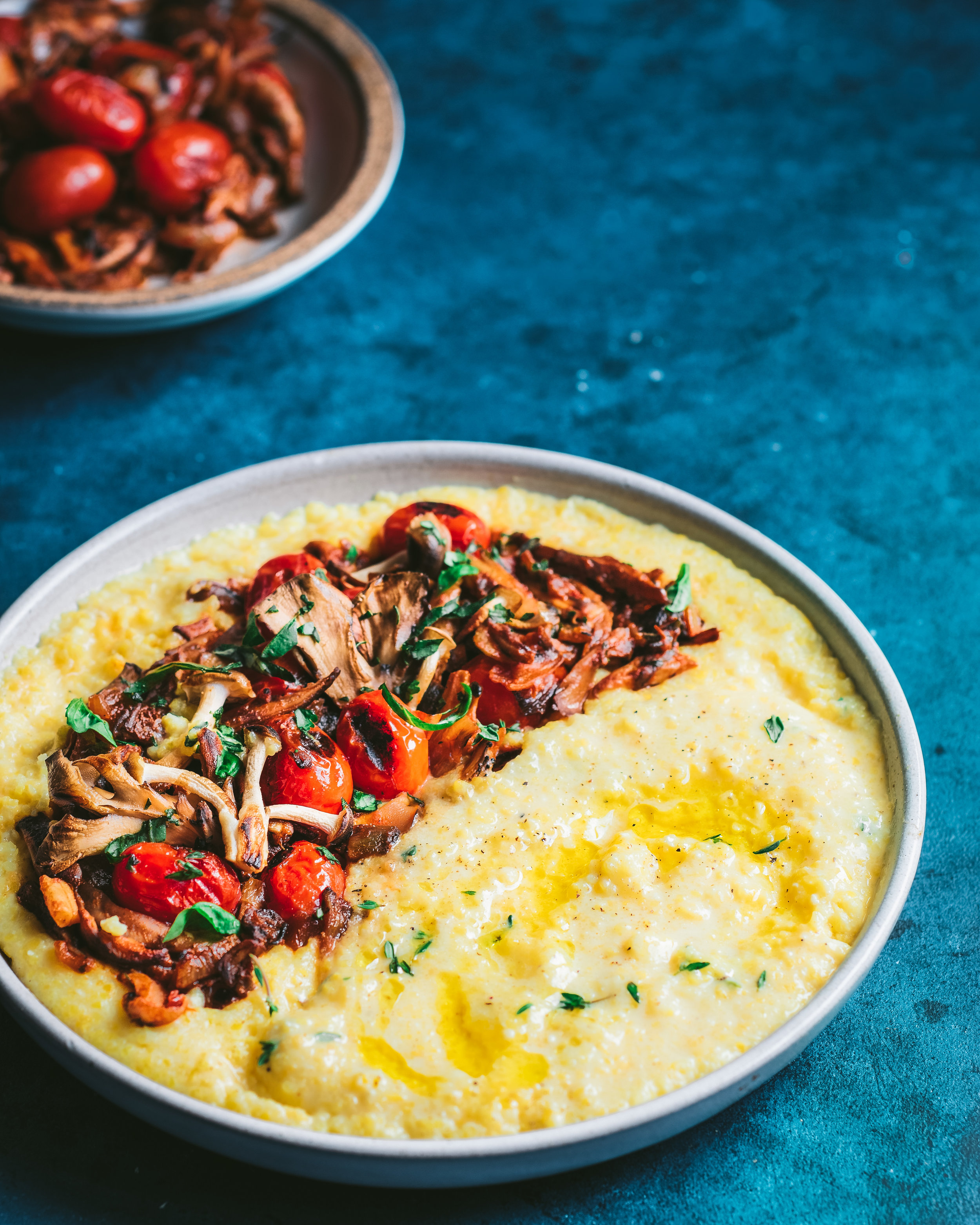 Creamy Vegan Polenta with Wild Mushroom and Tomato Ragu