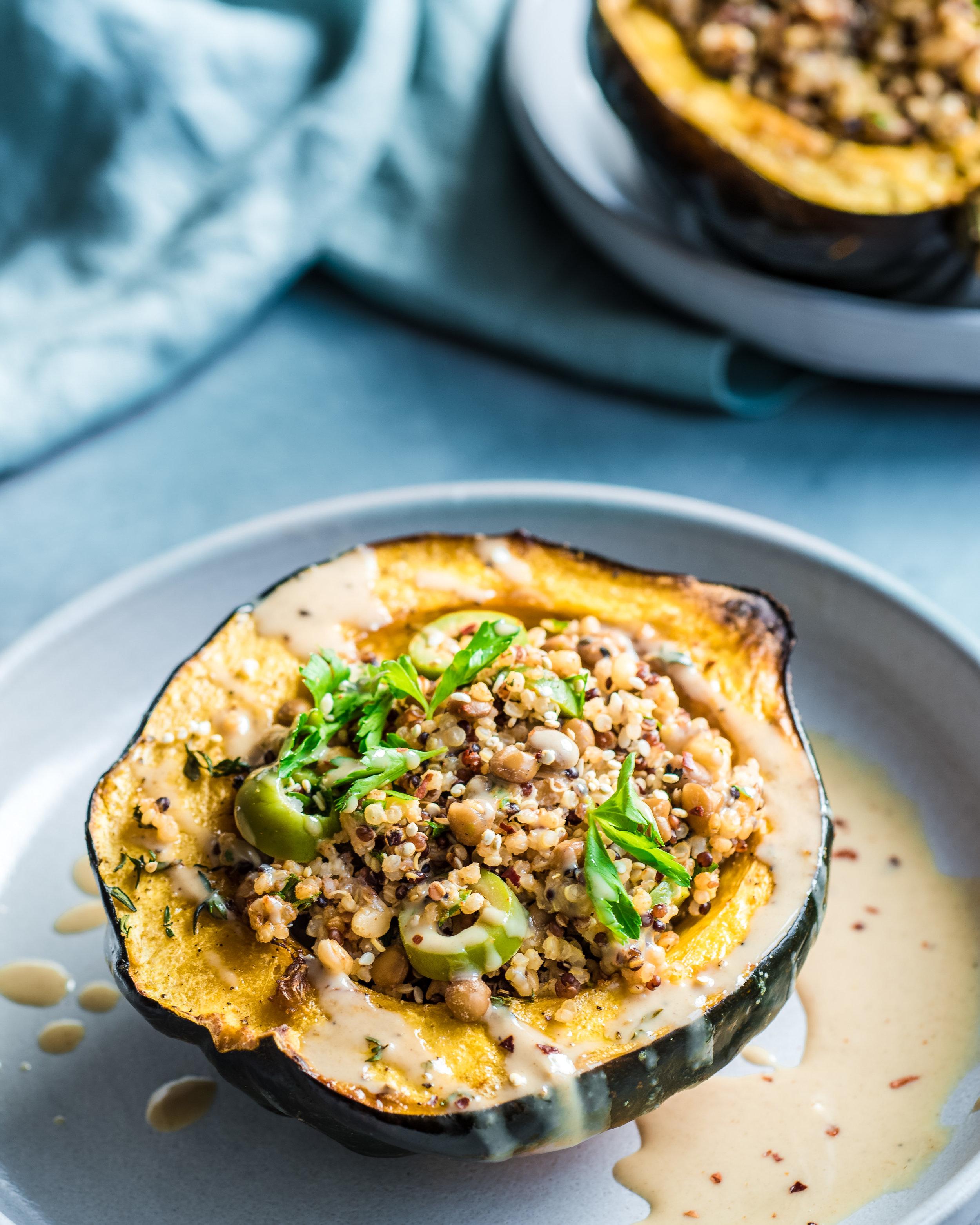 Quinoa-Stuffed Acorn Squash - V, GF