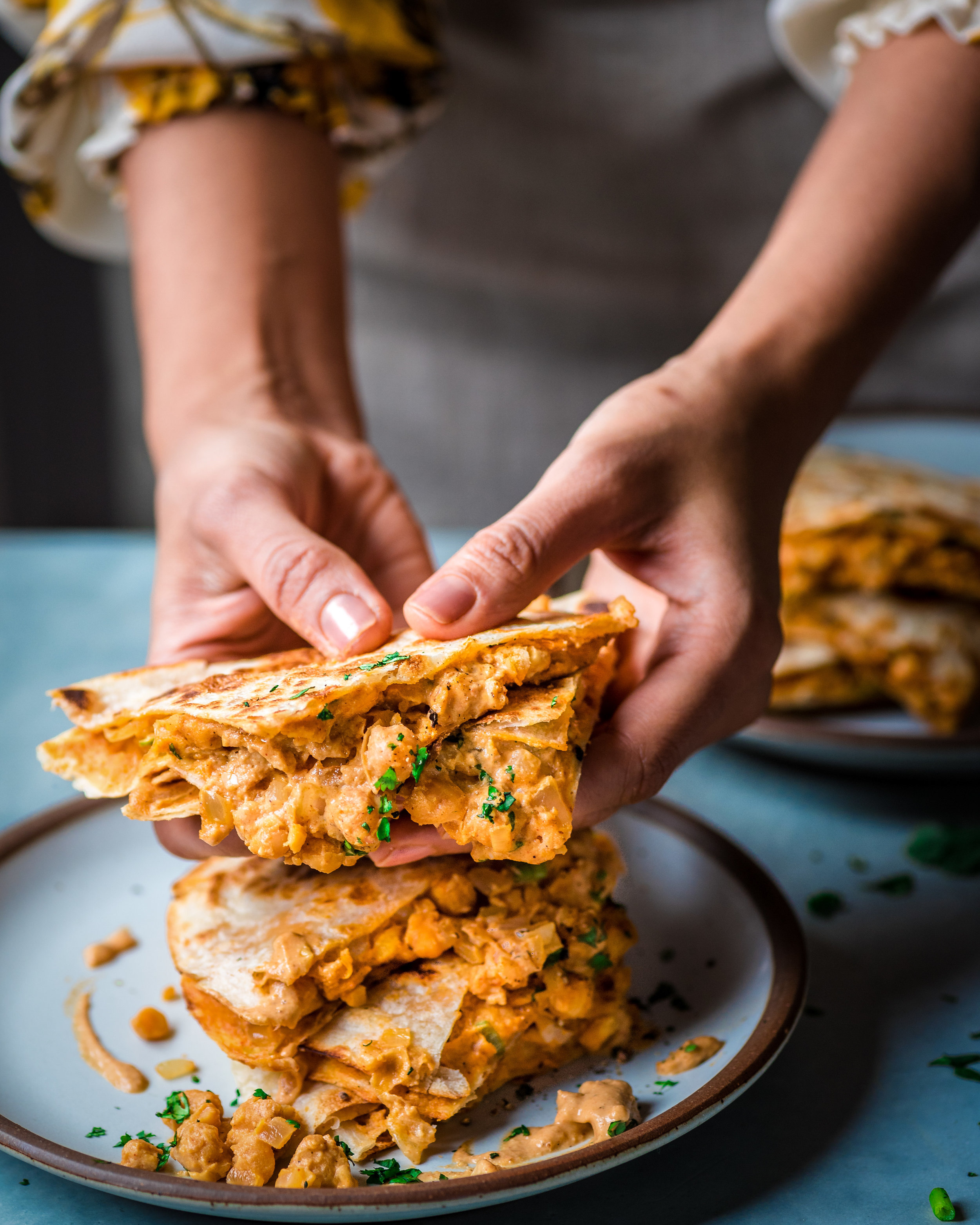 Buffalo Chickpea Quesadillas - V, GF-option