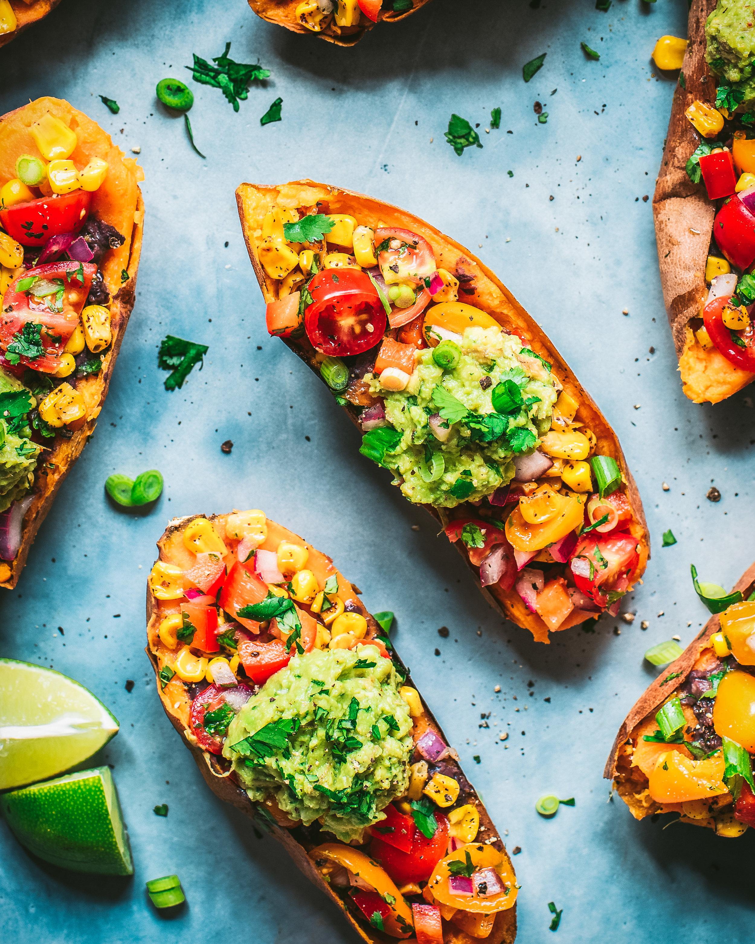 Healthy Burrito Bowl-Stuffed Sweet Potatoes