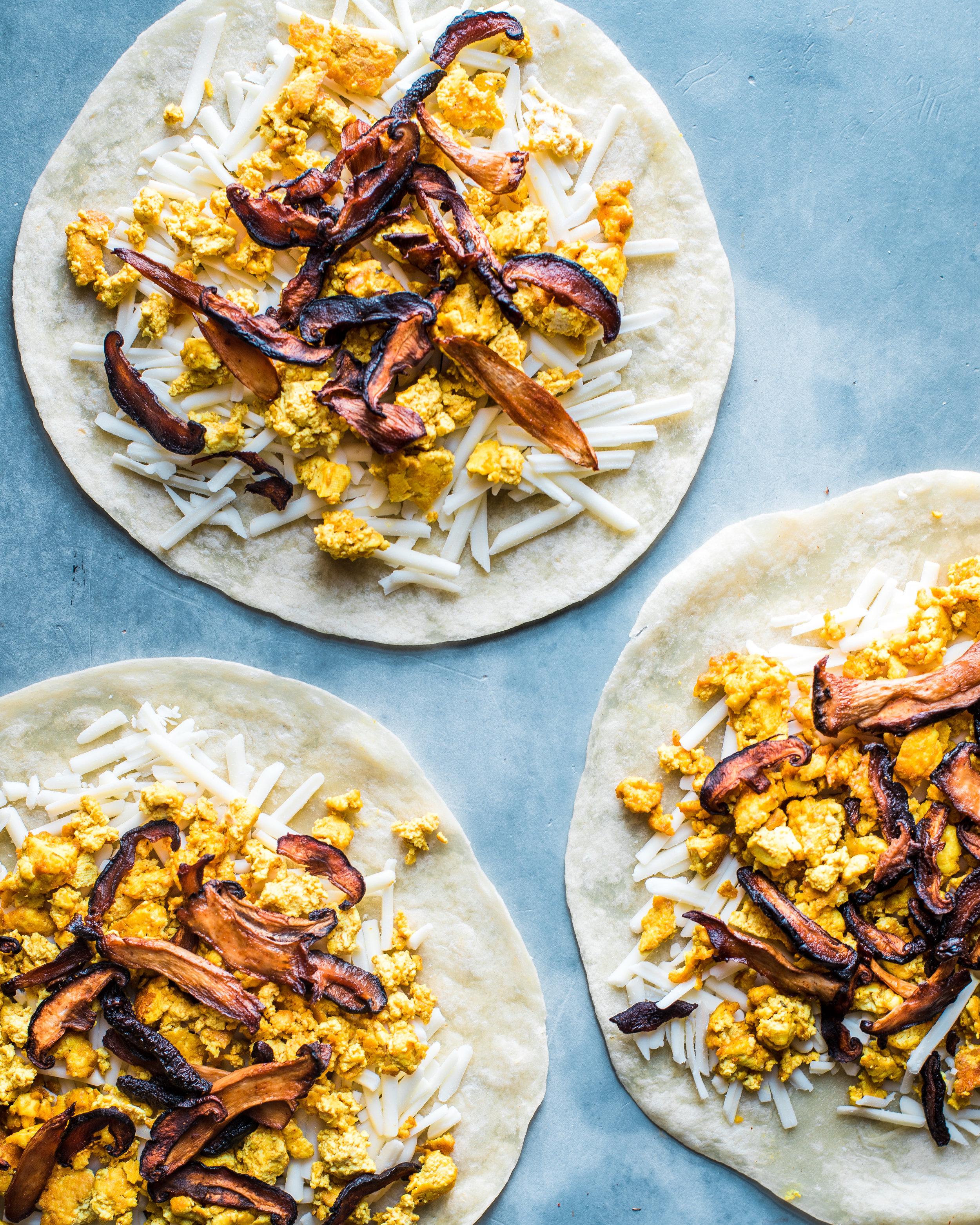Vegan Quesadillas with Mushroom Bacon