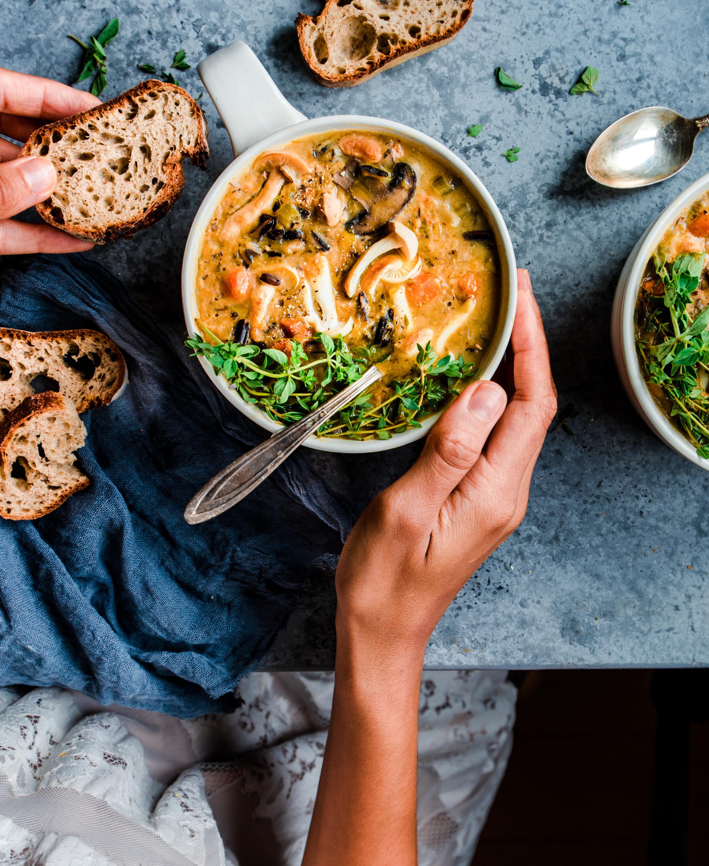 Instant Pot Wild Rice Mushroom Soup (Vegan)