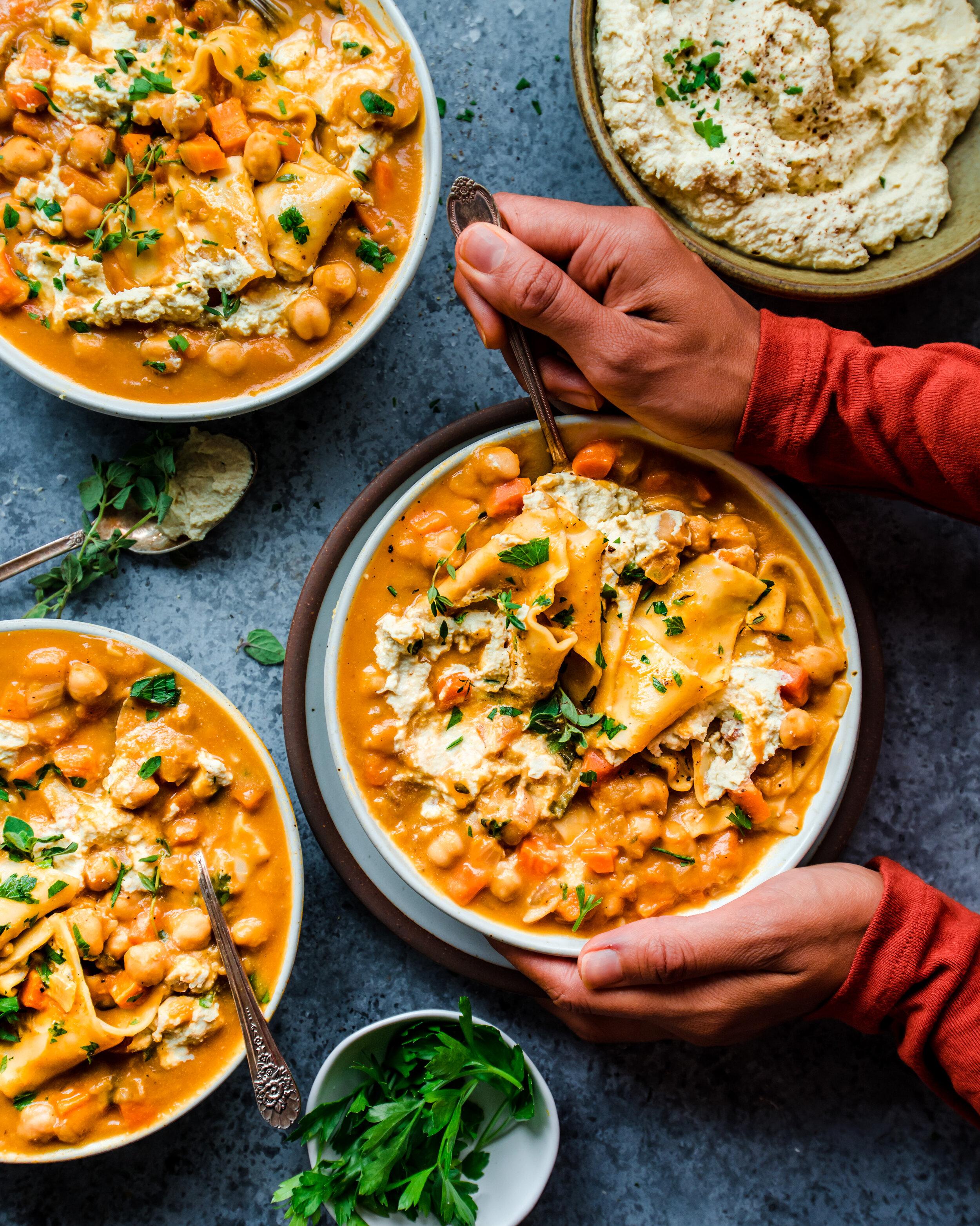 Instant Pot Pumpkin Lasagna Soup (Vegan