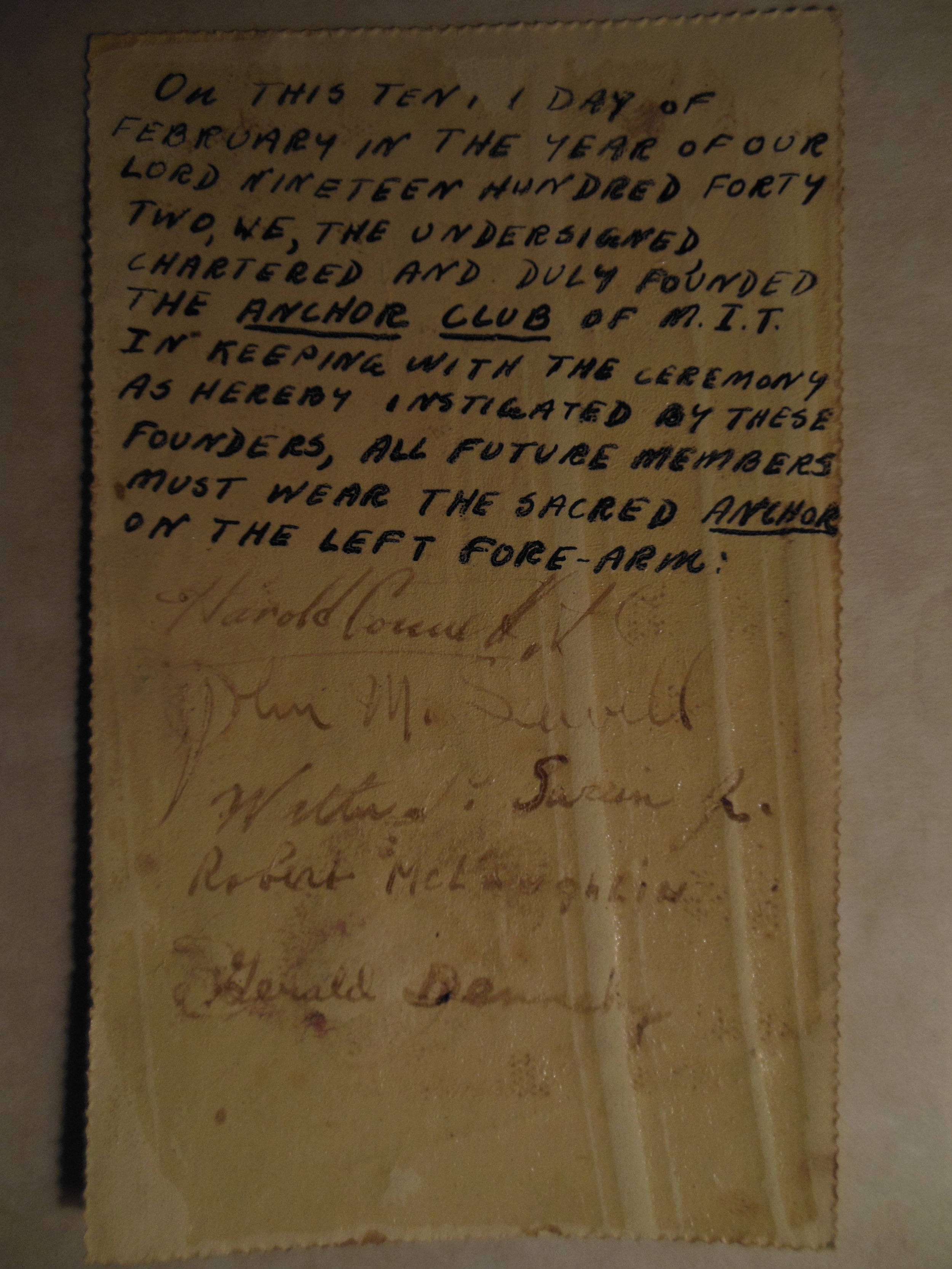 Founding Charter of The Anchor Club. Signed by Harold Connett Feb. 11, 1942.