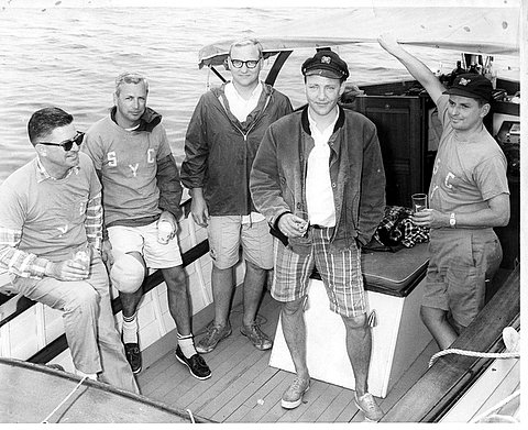 SYC Sunfish Team. From left, Ted Shuttleworth, Ambrose Carr, Hartley Connett, Abby Connett and Rich Holden.