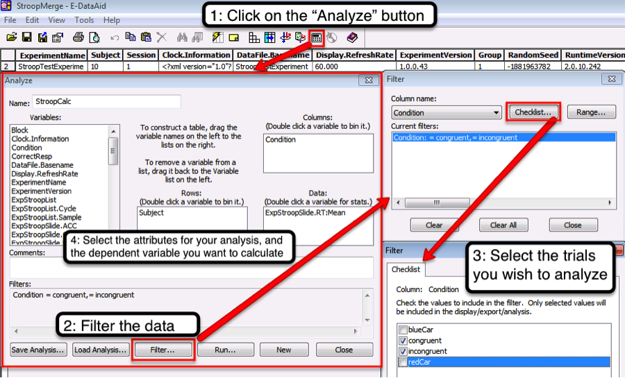 """Steps for analyzing the data in E-DataAid. First click on the """"Analyze"""" button (the one that looks like a calculator). Then filter the trials so that you only have the conditions you wish to analyze. In this example we calculated the mean reaction time to the Stroop stimuli for both the congruent and incongruent conditions for each subject."""