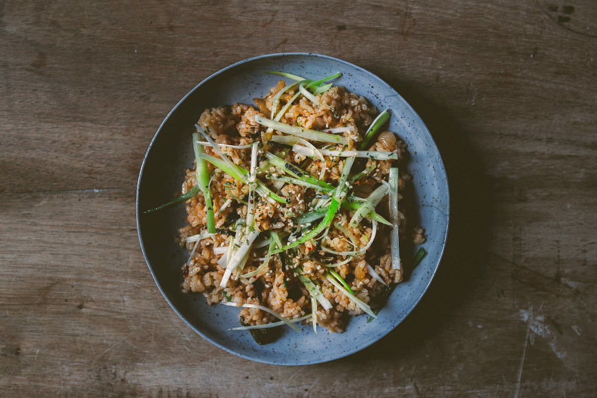 Kimchi Fried Rice with Scallion Salad from Small Victories by Julia Turshen
