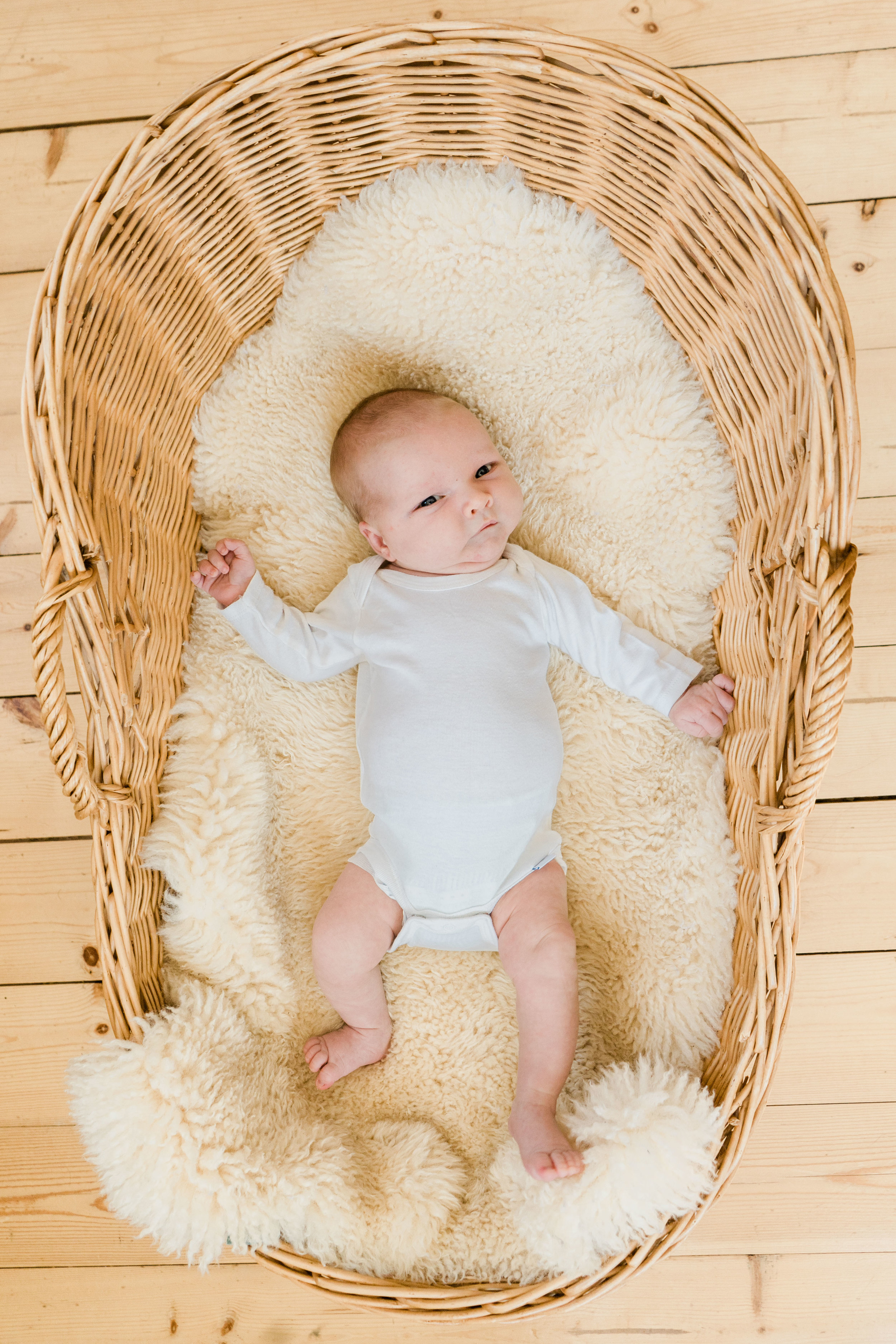 newborn photo in cradle