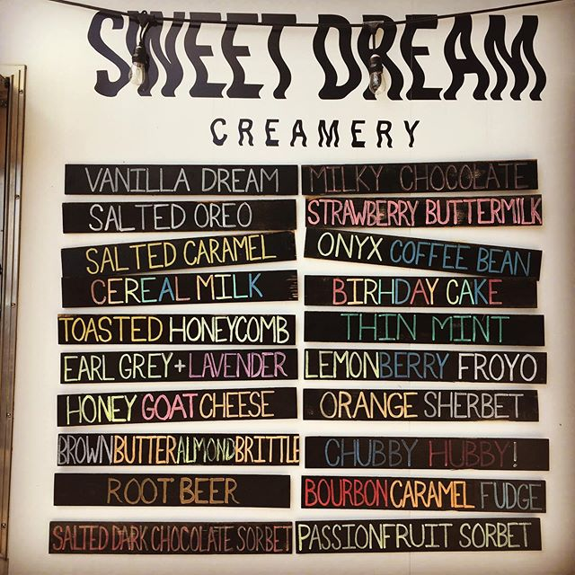 The menu is absolutely STACKED this weekend! Come down and try your favorites (including the return of the Brown Butter Brittle) while they're here!!! 🙌🌈🍦🦄🥳🐬❤️