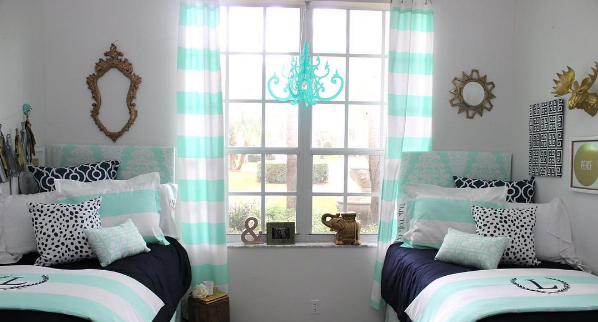 Decor 2 UR Door used our Turquoise Fancy Chandelier as easy DIY dorm decor for a college student.