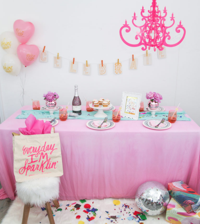 """Celebrate any occasion or just have a perfect girls night in with this fun and bright, """"You're a Gem"""" themed party!  The """"You're a Gem"""" greeting card from the Thimblepress x Glitter Guide Collection was what inspired this party."""