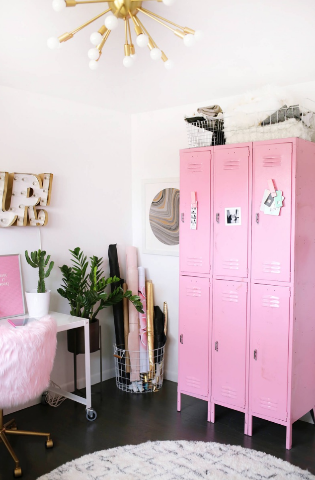 Loving how cohesive this particular pink shade is, from the locker, to the wall print on desk, to wrapping paper. Subtle and powerful at same time. via  A Beautiful Mess