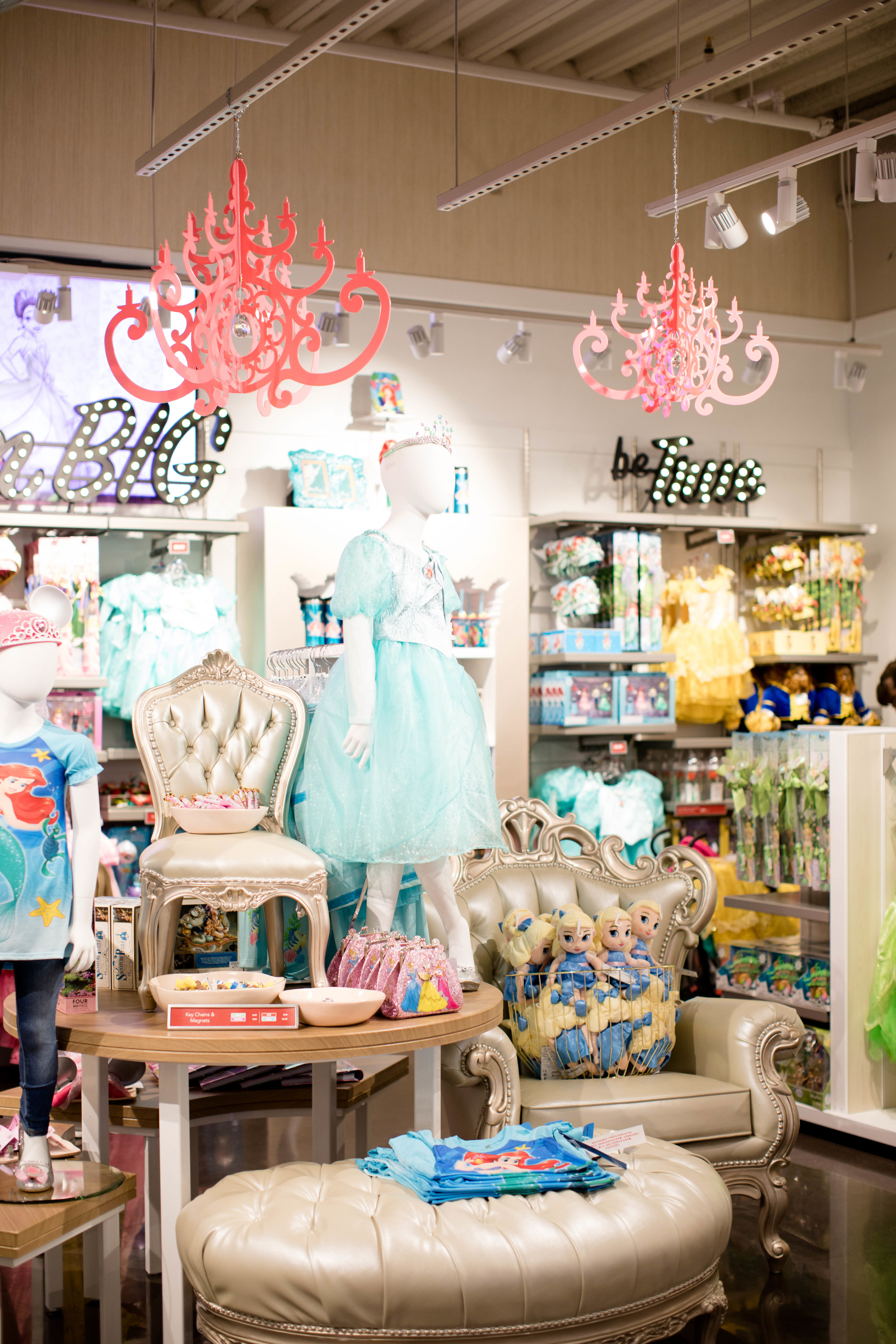 Pink Chandeliers were ordered to compliment the princess section of the Disney Corner Store.