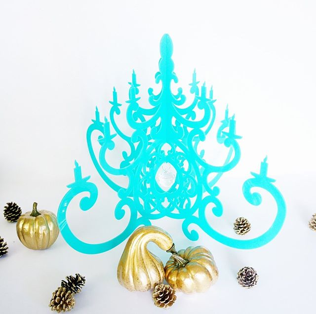 Our super bright and happy Turquoise Fancy Chandelier is beautiful and easy to decorate with. It works on a table, hangs anywhere and brings a POP of color to any space. We have a few left and once they are gone, they are gone. #turquoise #chandelier #pumpkinseason #falldecor #falldecorating #falldecorations #falldecoratingideas #goldpumpkin #golddecor #golddecorations #diyhomedecor #diydecor #diydecoration #moderndesign #moderndecor #moderndecoration #turquoisetuesday