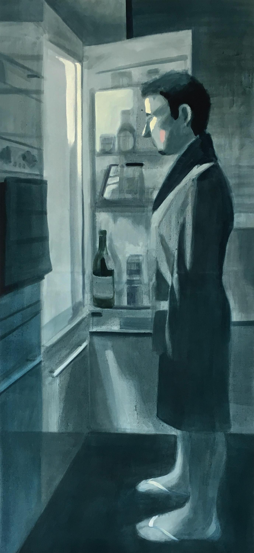 The Night Walk (Insomnia), oil on canvas, 160 x 80 cm, 2017