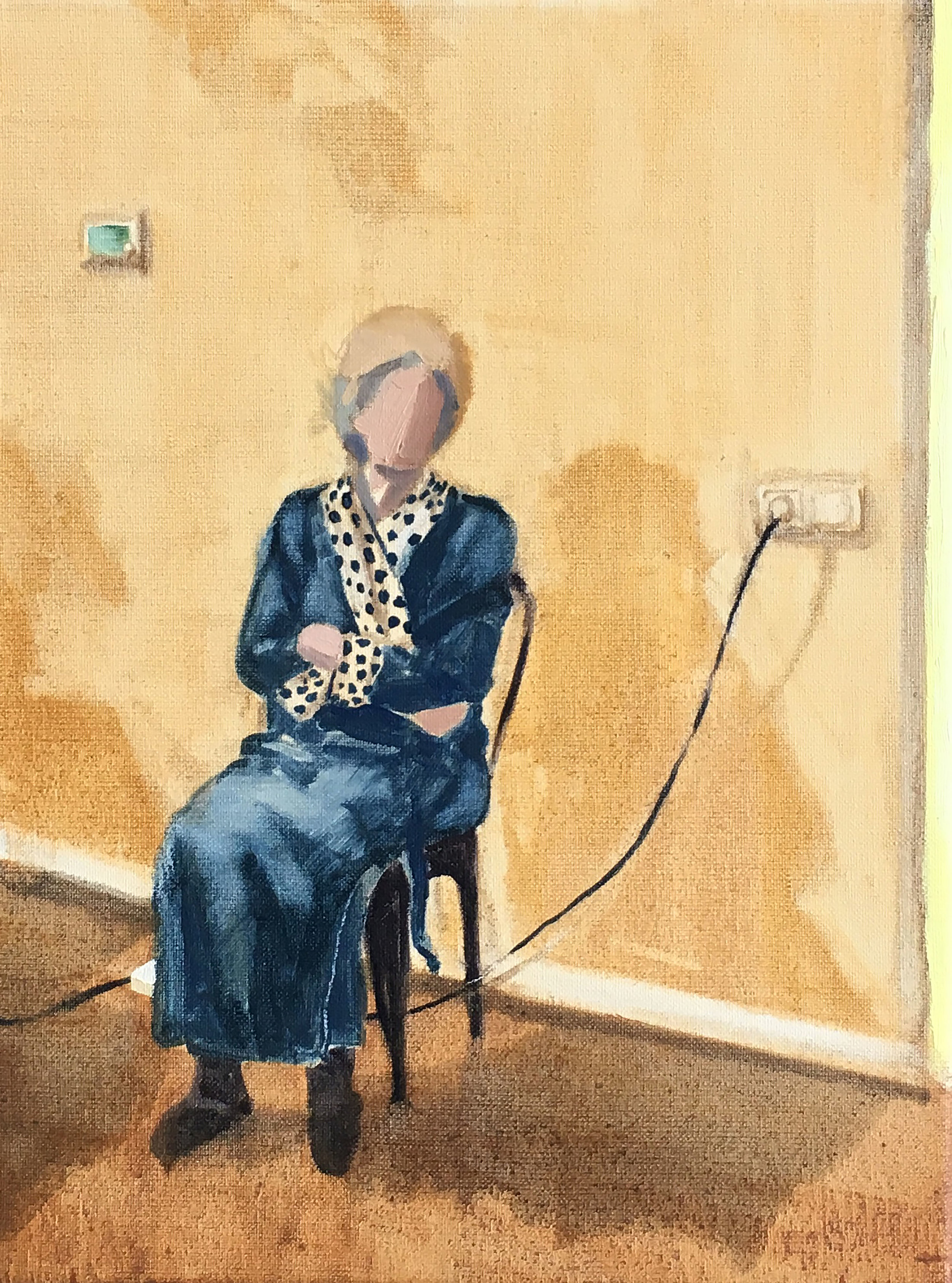 Grandma Connected, oil on canvas, 30x40 cm, 2019  (In Private Collection)