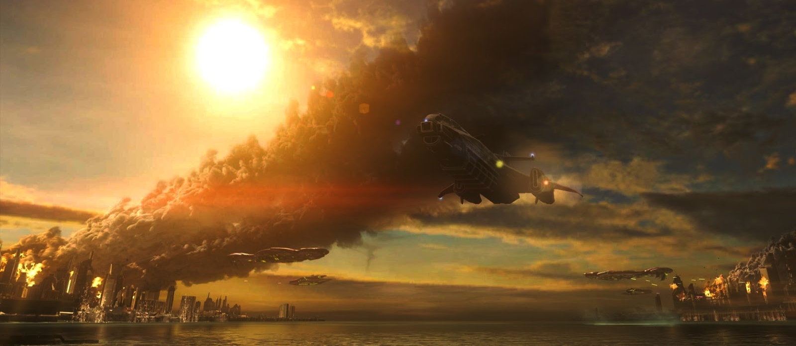BATTLE OF TRIBUTE - Tribute's capital city Casbah burns from Covenant attack as civilians attempt to evacuate the planet, August 2552.