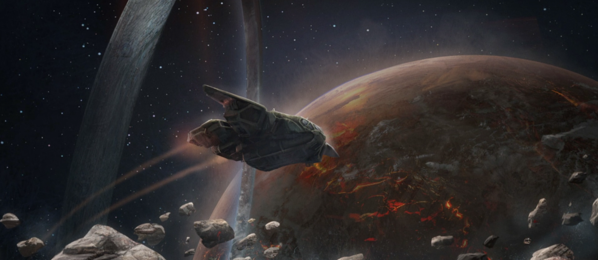 BATTLE OF INSTALLATION 03 - UNSC forces leaving Gamma Halo with the Conduit to take it to New Phoenix, Earth to stop Jul Mdama's Covenant invasion force, July 2557.