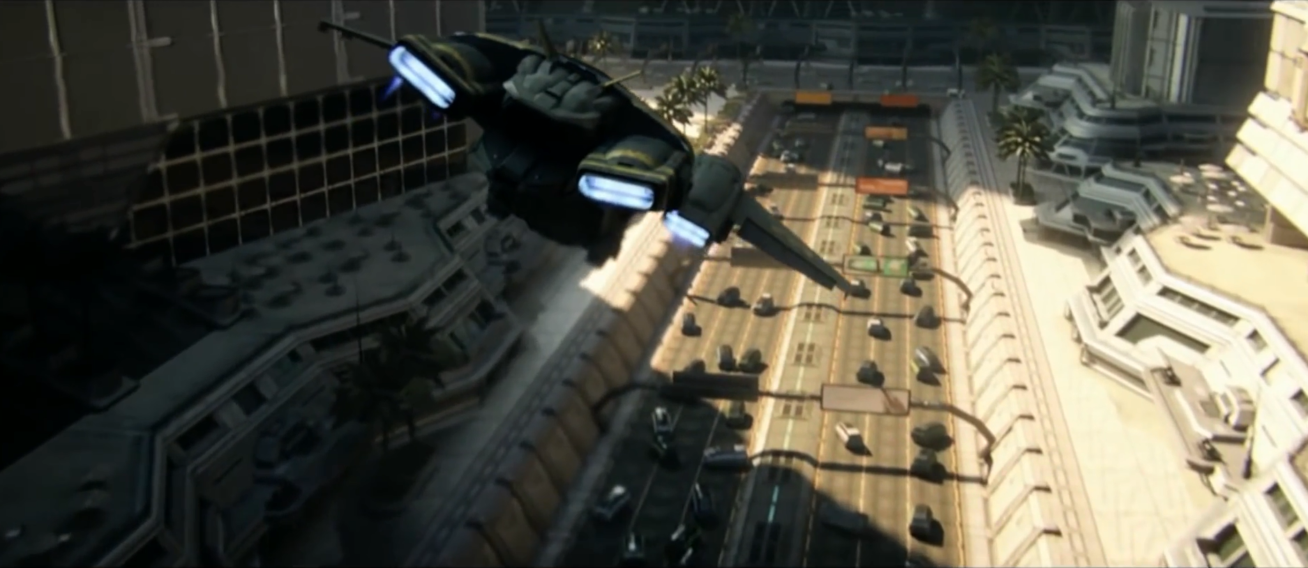 NEW PHOENIX INCIDENT - A UNSC Pelican flying over New Phoenix in the immediate aftermath of the firing of the Composer, July 2557.