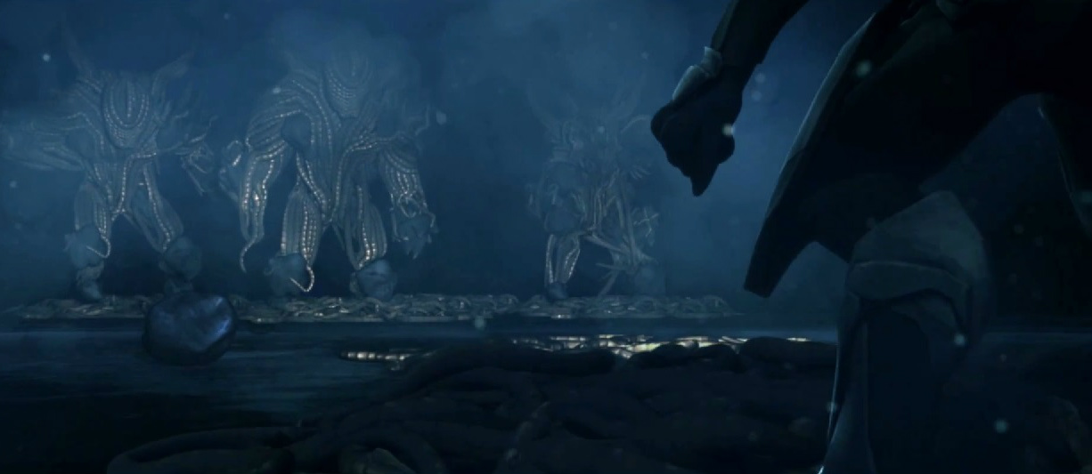 TAMING OF THE LEKGOLO - 789 BCE - 784 BCEA Covenant Arbiter faces off against a colony of Lekgolo on the moon Rantu, c. 784 BCE.