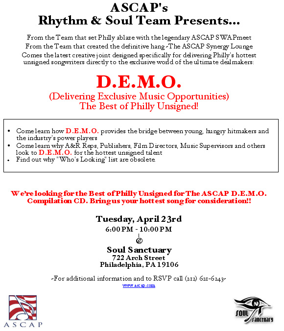 There were special events like the DEMO workshop presented by ASCAP for aspiring songwriters and producers.