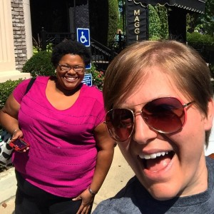 two women outside a restaurant selfie