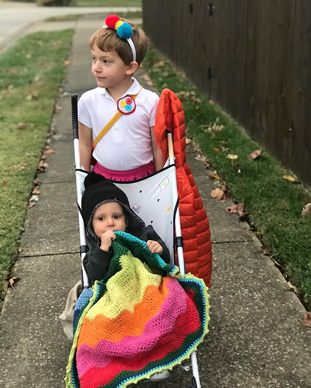 We had a very happy Halloween and we hope you did to.  We didn't get many trick-or-treaters at Nana's so we went out looking for the fun.  We found it! Walking the same streets I trick-or-treated as a kid. . . Also, #babydukebrown refused to cover up her costume with a coat.  She claimed she wasn't cold. 😉😊 #MySunshineBirth #family #halloween