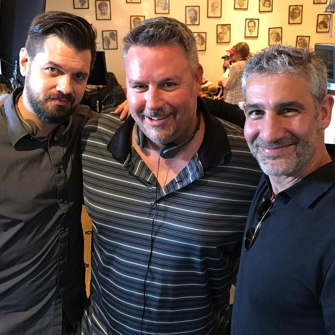 """Jason on set of Bravo Channel's """"Girlfriend's Guide to Divorce"""" as a shadow director. With fellow episode directors, Terrell Clegg(center) and Michael Silver(right)"""