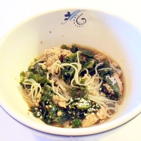 homemade gluten free turkey and greens noodle soup