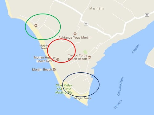 These are some of the peaceful places to stay in Morjim. The circle in red is walking distance from the shala. The other two circles are even sweeter just a 2 minute scooter ride or a 20 minute walk because of all the backroads. Please be mindful that during Christmas to New Years it is more quiet to stay inside the villages than closer to the beach.