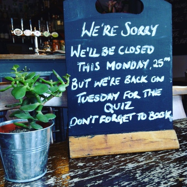 We'll be closed this Monday 25th so that our staff can enjoy a well deserved (if slightly late) Christmas Party. We'll be back on Tuesday and hope to see you all then!