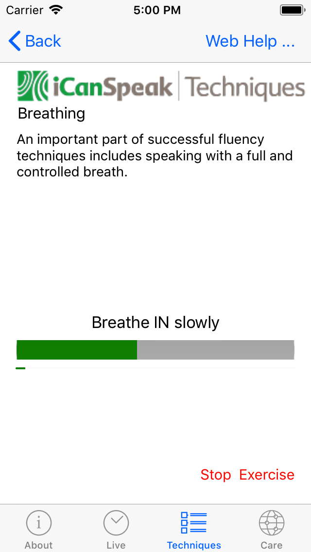 Repetition of breathing exercise