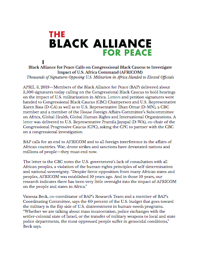 Black Alliance for Peace Delivers to Congress Thousands of Signatures Opposing AFRICOM