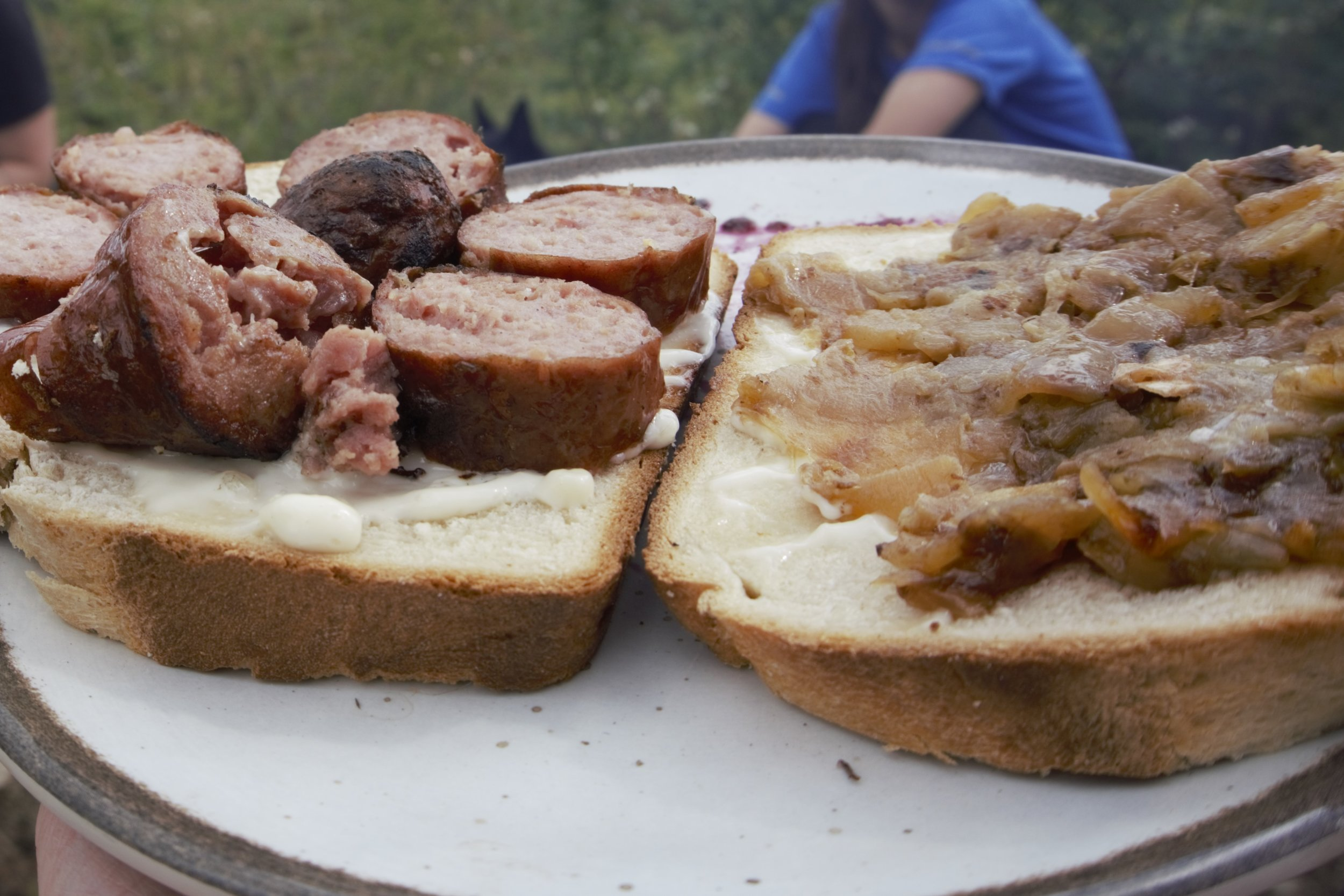 Sausage & onions on homemade bread