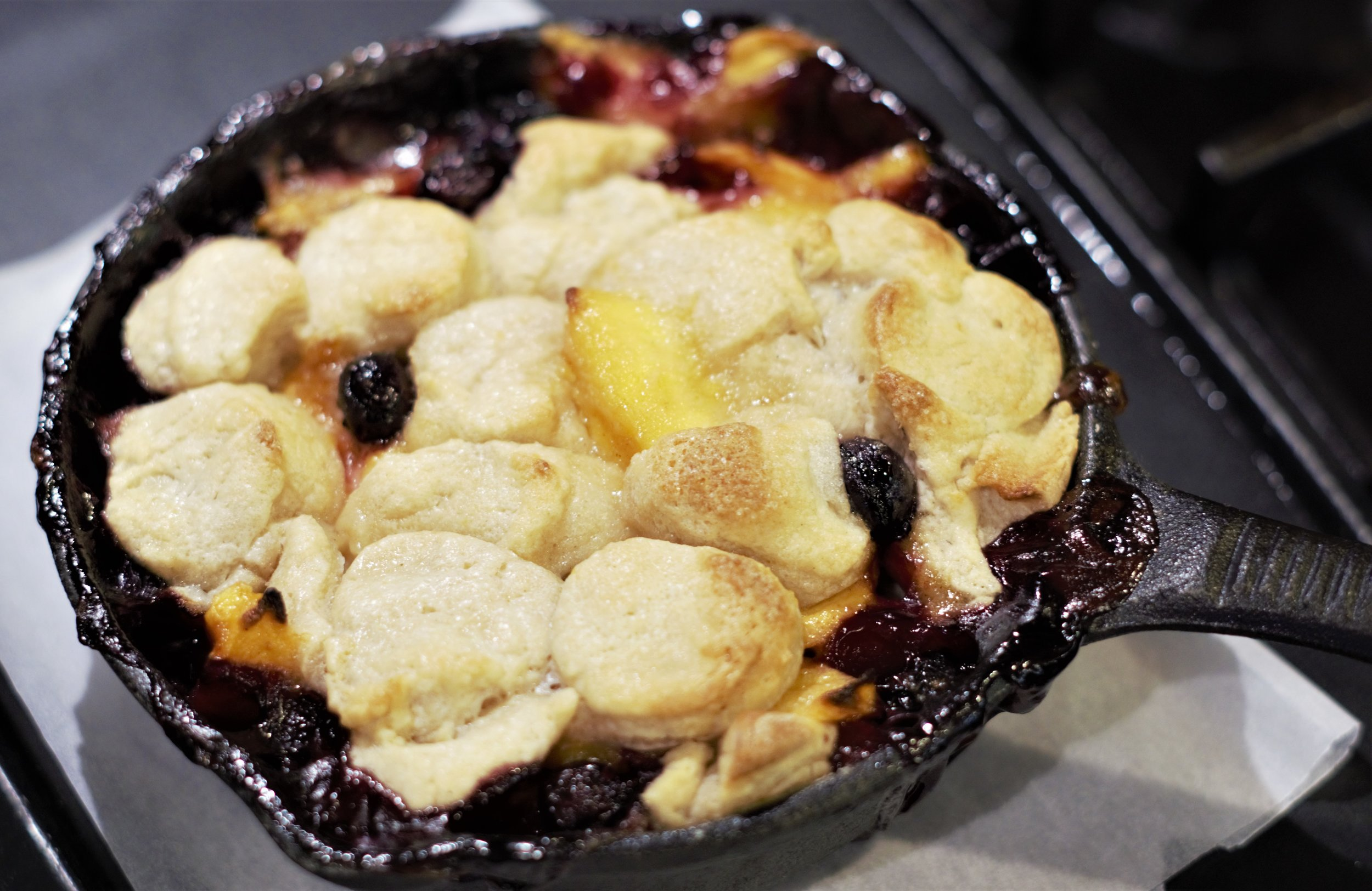 Cobbler on the grill in a mini skillet