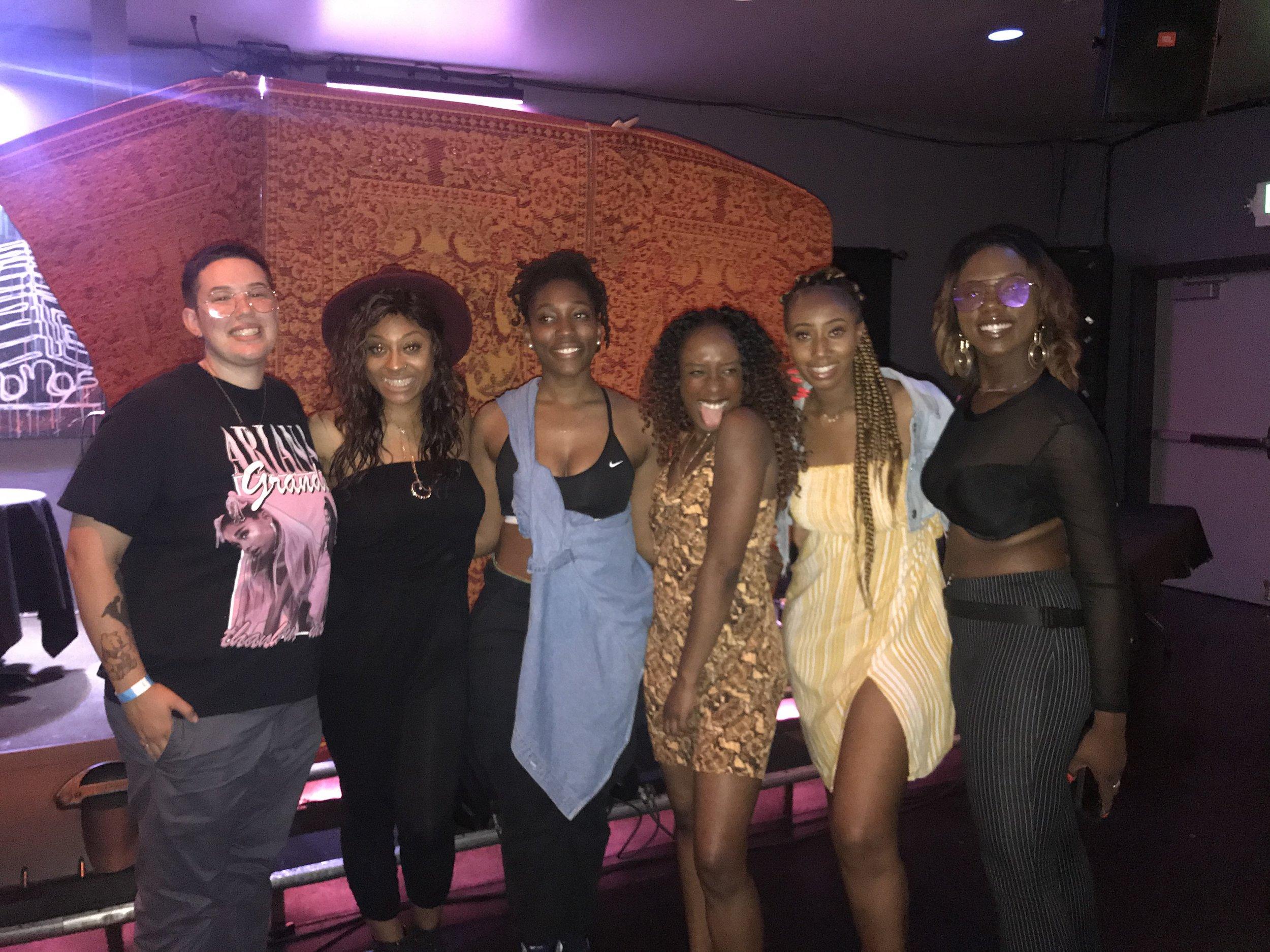 from l to r: DJ Madeinchynaa, Kendra DeAnna', Ivy Sole, Blossom, PARISALEXA, Phat Joe