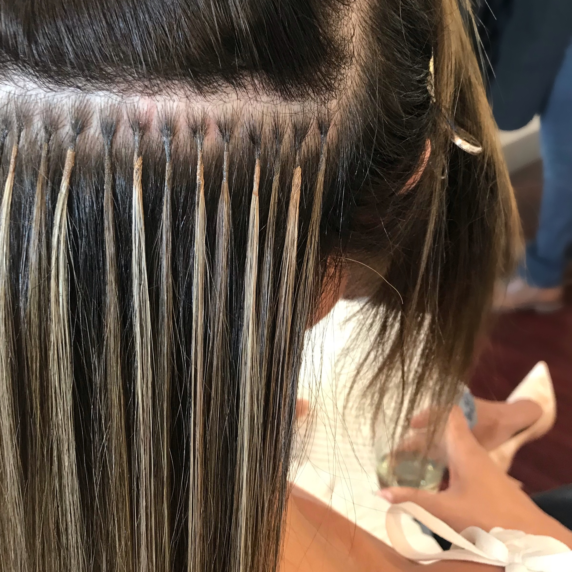 VIEW OF FINE STRANDS IN BACK OF HAIR - CUSTOM COLOR APPLICATION