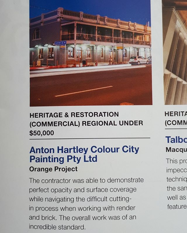 Great feedback  from the judges of the Master Painters Awards on our @parkviewhotelorange project #colourcitypainting #greatteam #gettingthejobdoneright #paintercentralwest