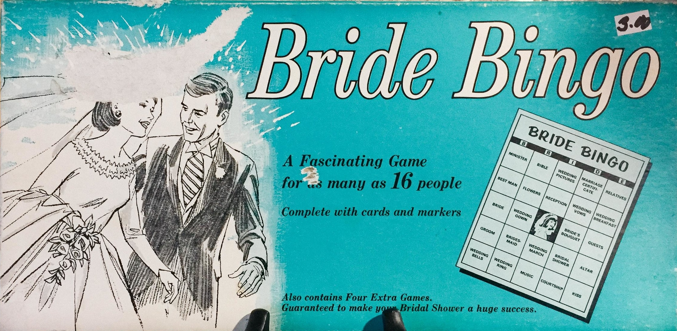 "* This ""Bride Bingo Game"" box probably dates back the 50's and was captured in a garage sale."