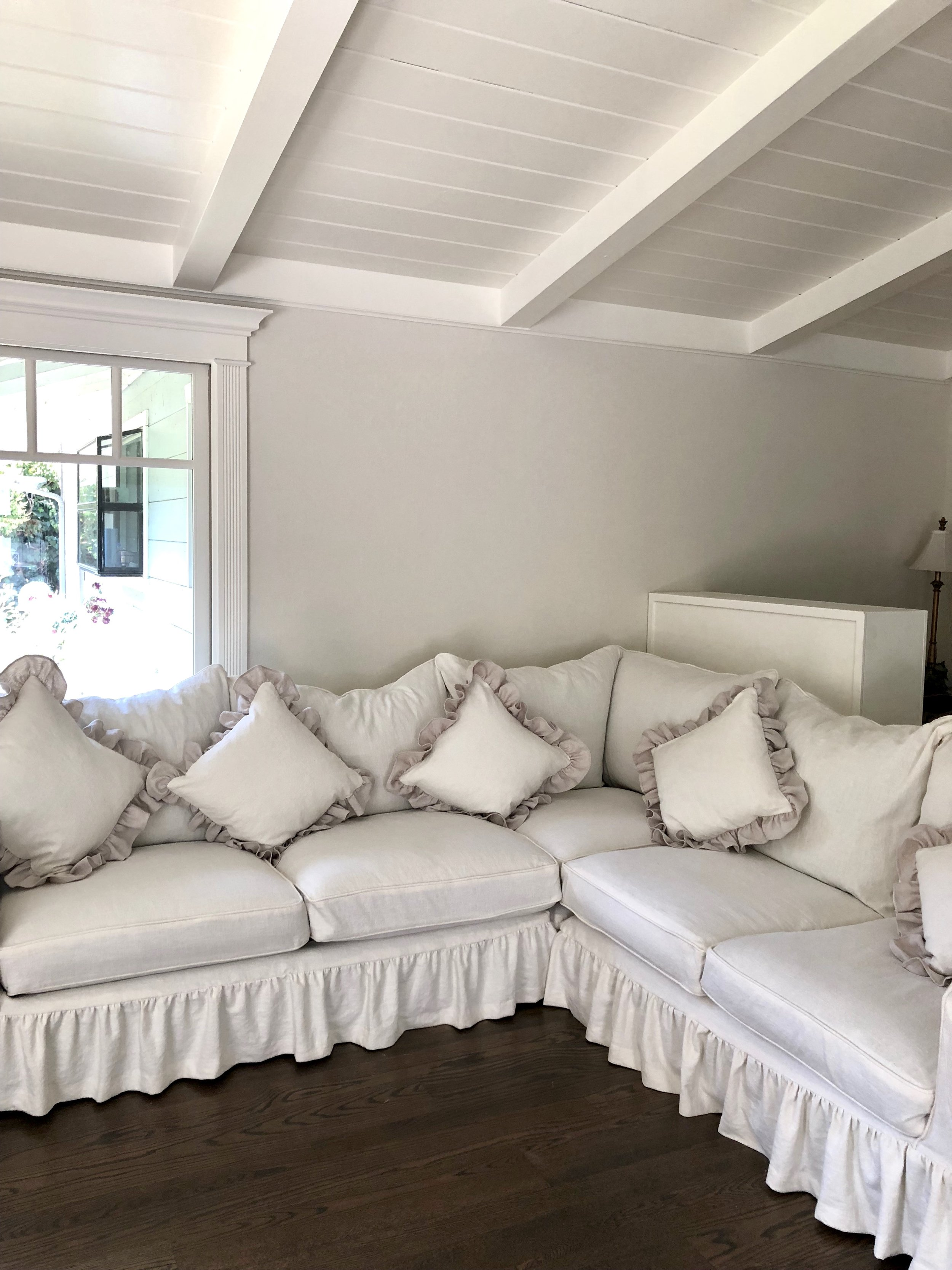 sectional couch Slipcover and custom pillows