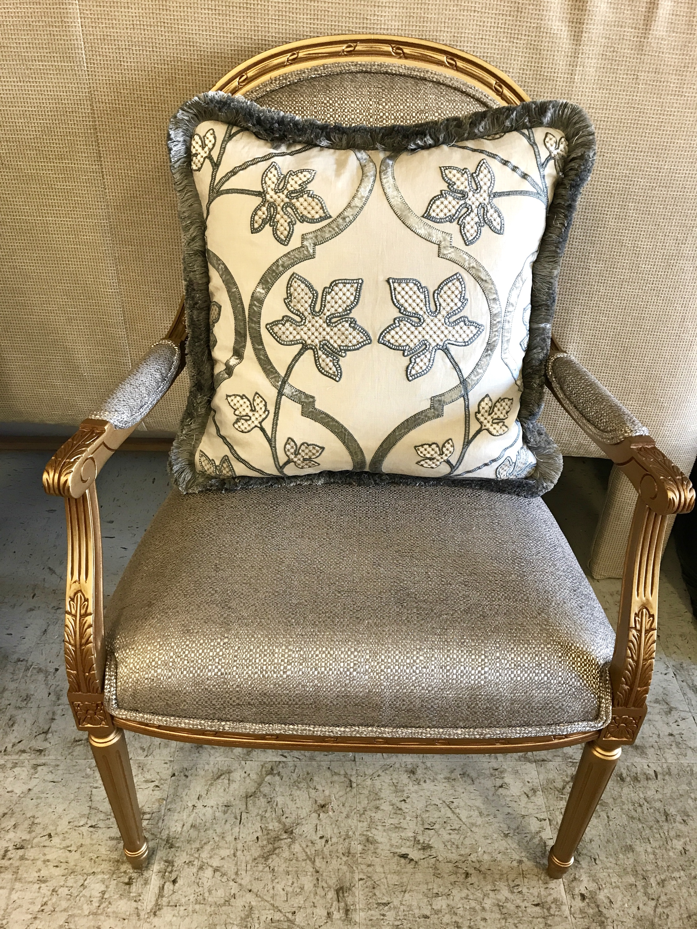 chair upholstery with custom Pillow