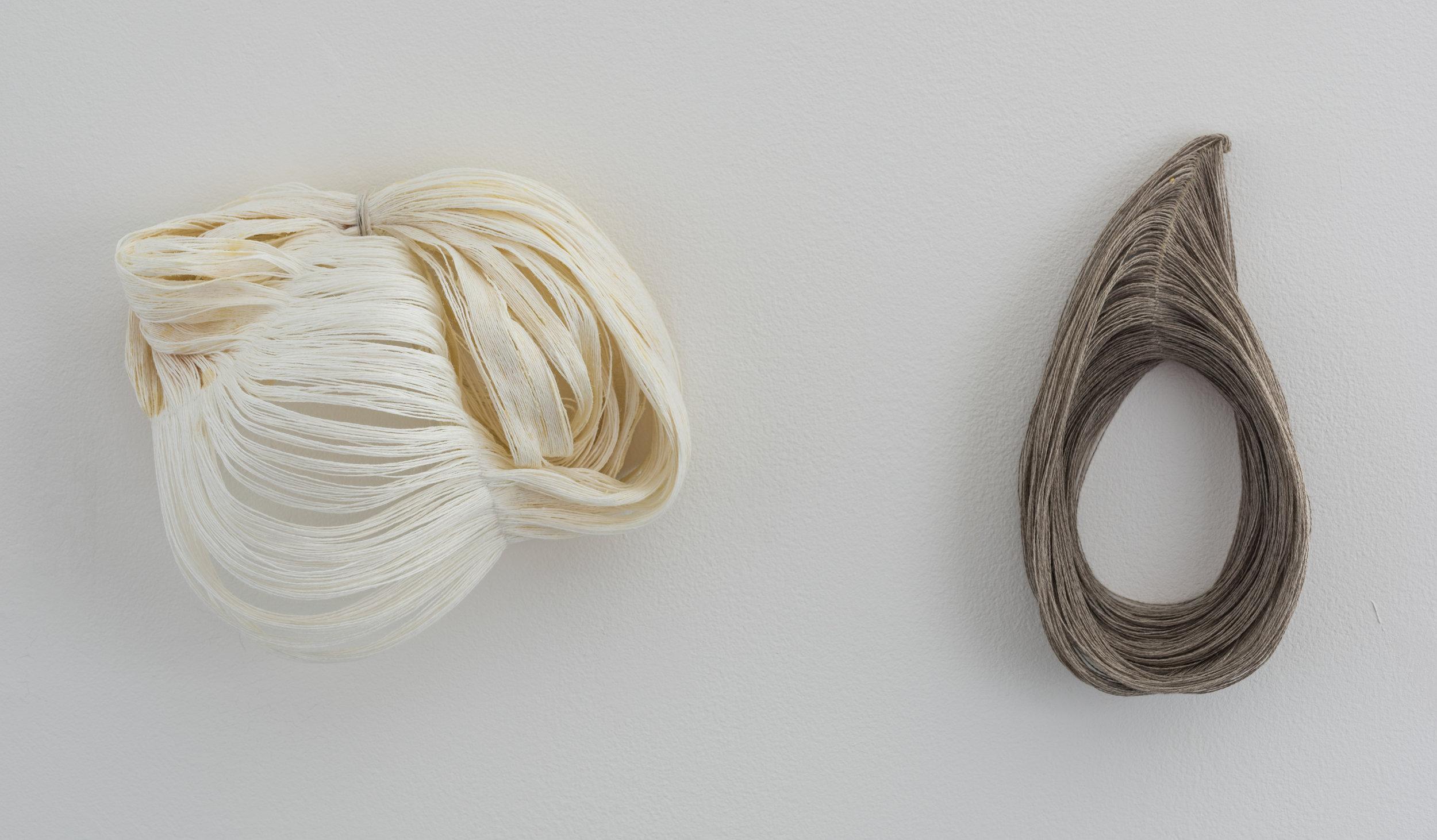 linen thread sculptures [beeswax, wire]