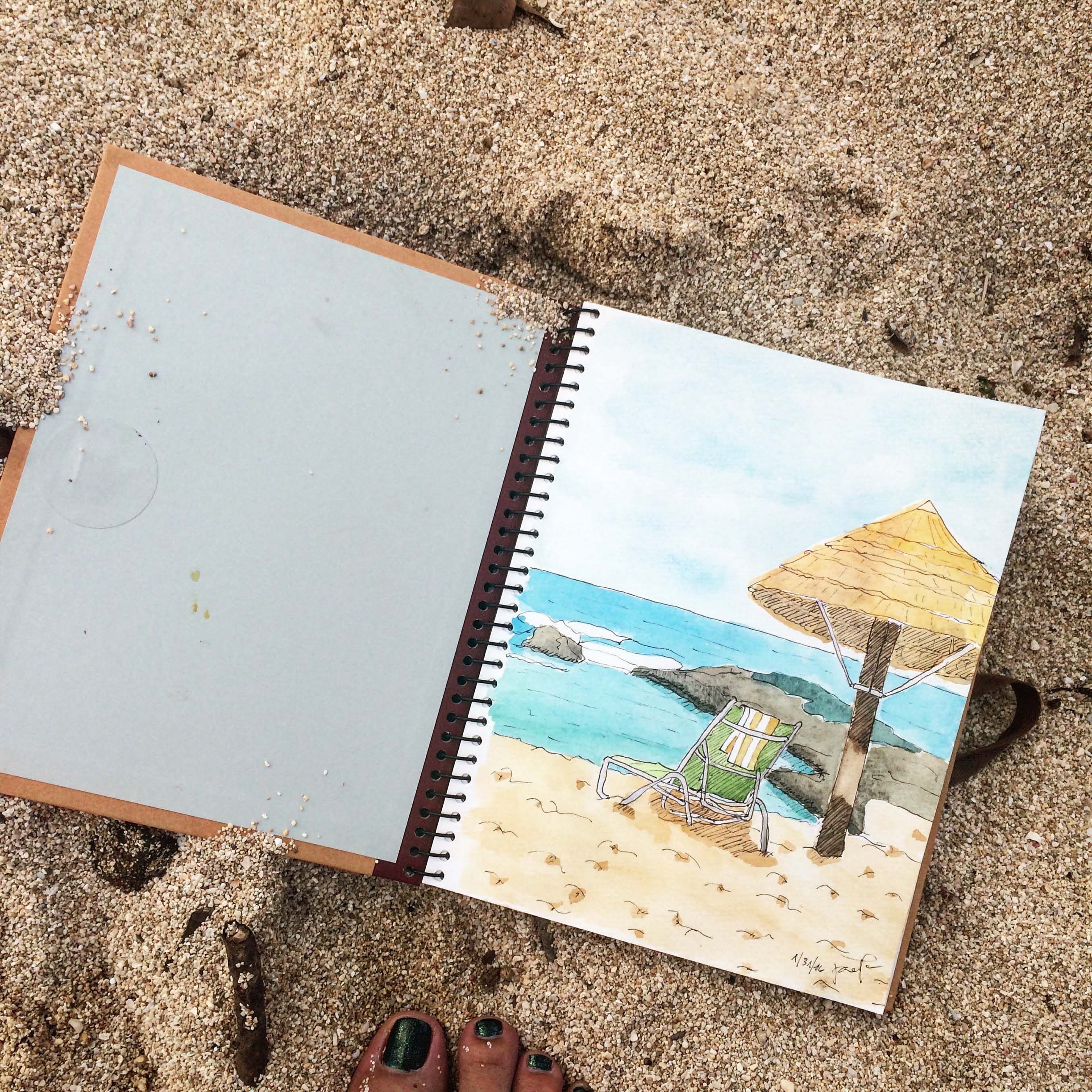 Sketch of beach at Turtle Bay, dated 31 January 2016.